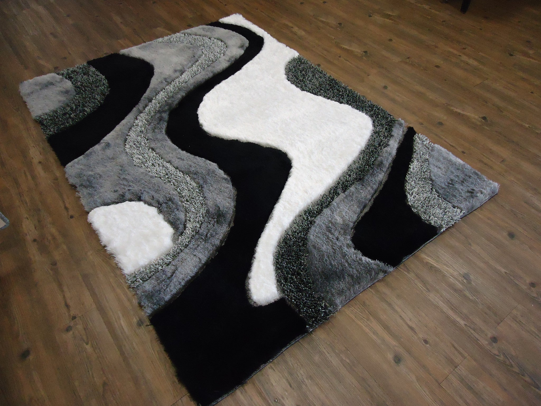 grey with black shag rug with hand carving design 4 x 54 black shag rug