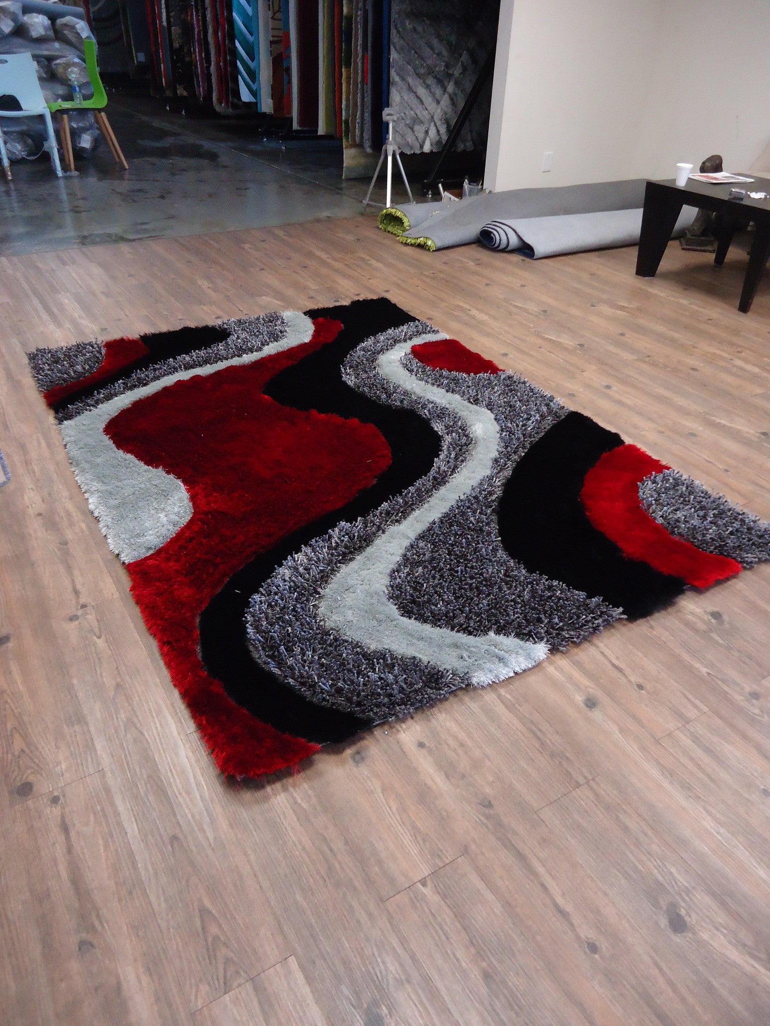 Black/Grey with Red Shag Area Rug 7u00276 x 10u00273 - Black And Red Area Rugs Roselawnlutheran