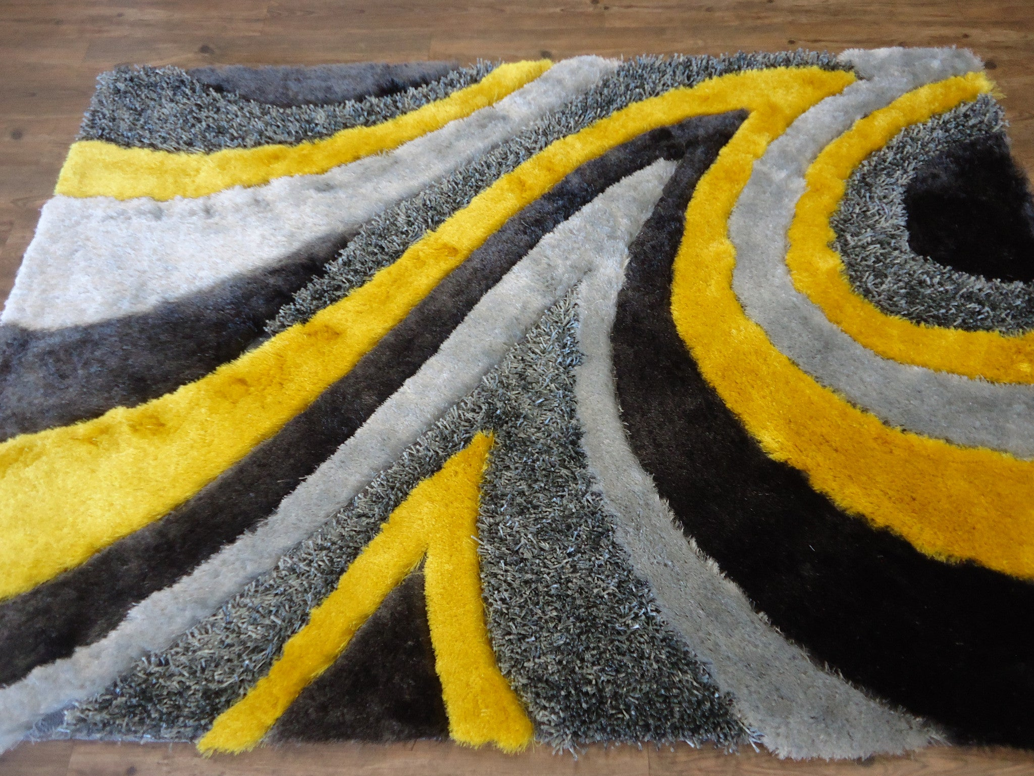 Grey With Yellow Shag Rug By Rug Addiction