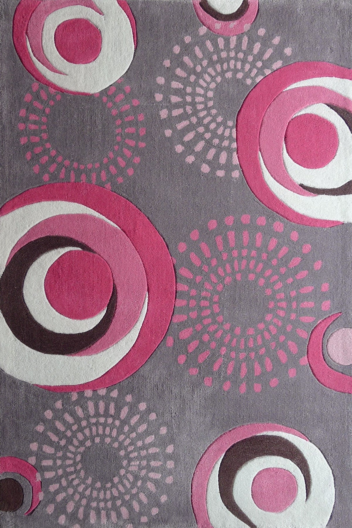 Grey Kids Bedroom Area Rug With Pink