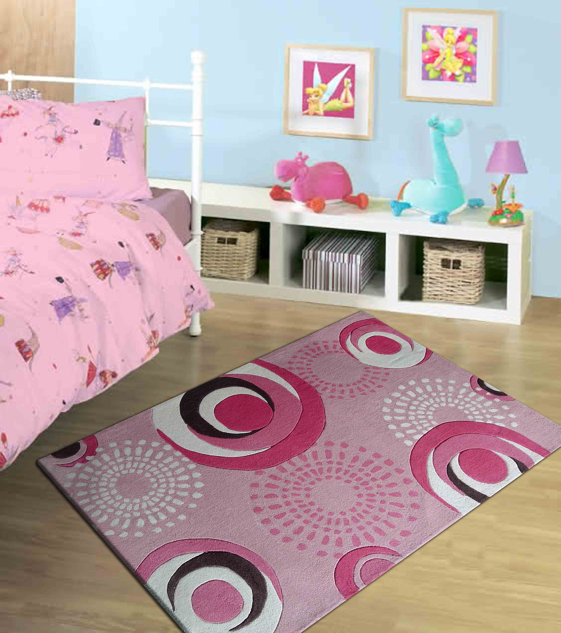 4 39 x 6 39 ft pink kids bedroom area rug with pink circles for Rugs for kids bedrooms