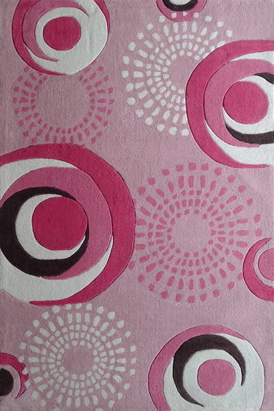 4 X 6 Ft Pink Kids Bedroom Area Rug With Pink Circles