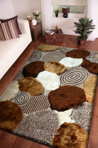 Lovely Beige With Brown Pattern Shag Rug 5u0027 X 7u0027 Ft. ($279.99USD