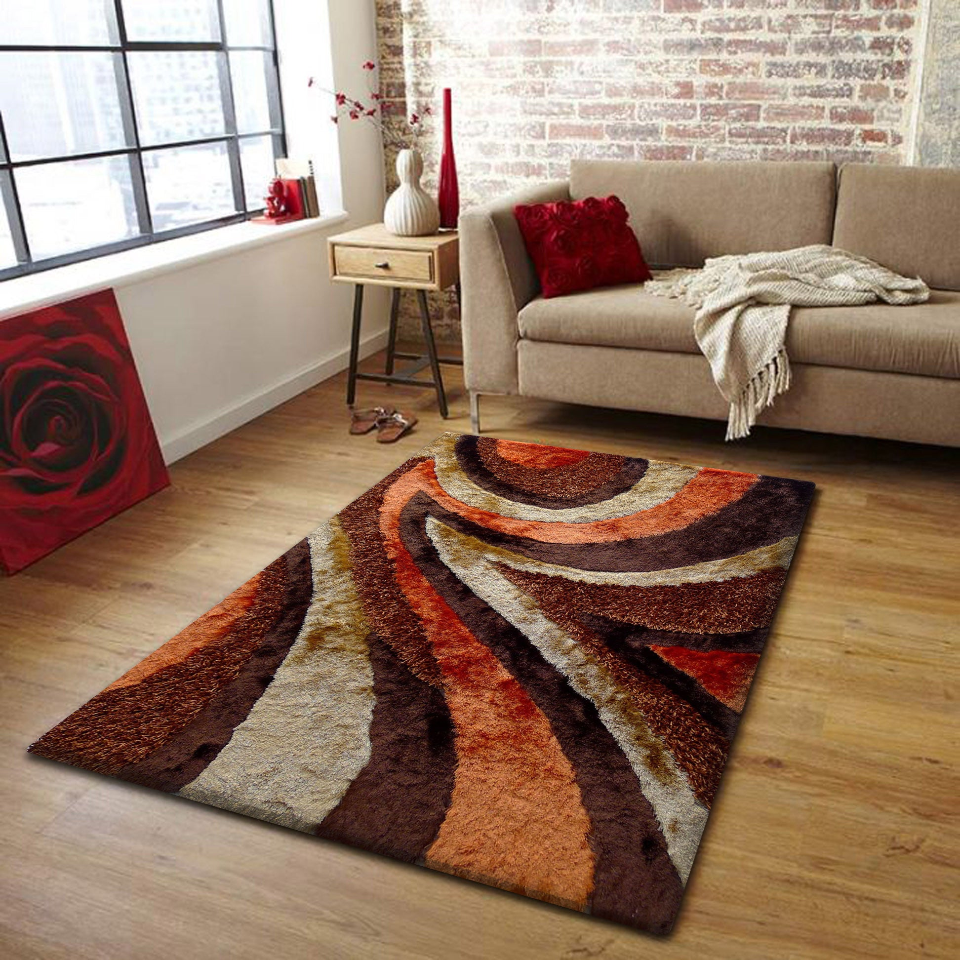 2 Piece Set | Plush Shag Brown With Orange Area Rug With Rug Pad Part 20