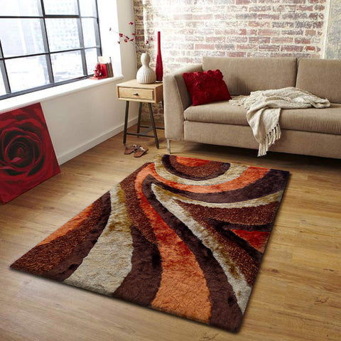 2-Piece Set | Plush Shag Brown with Orange Area Rug with Rug Pad
