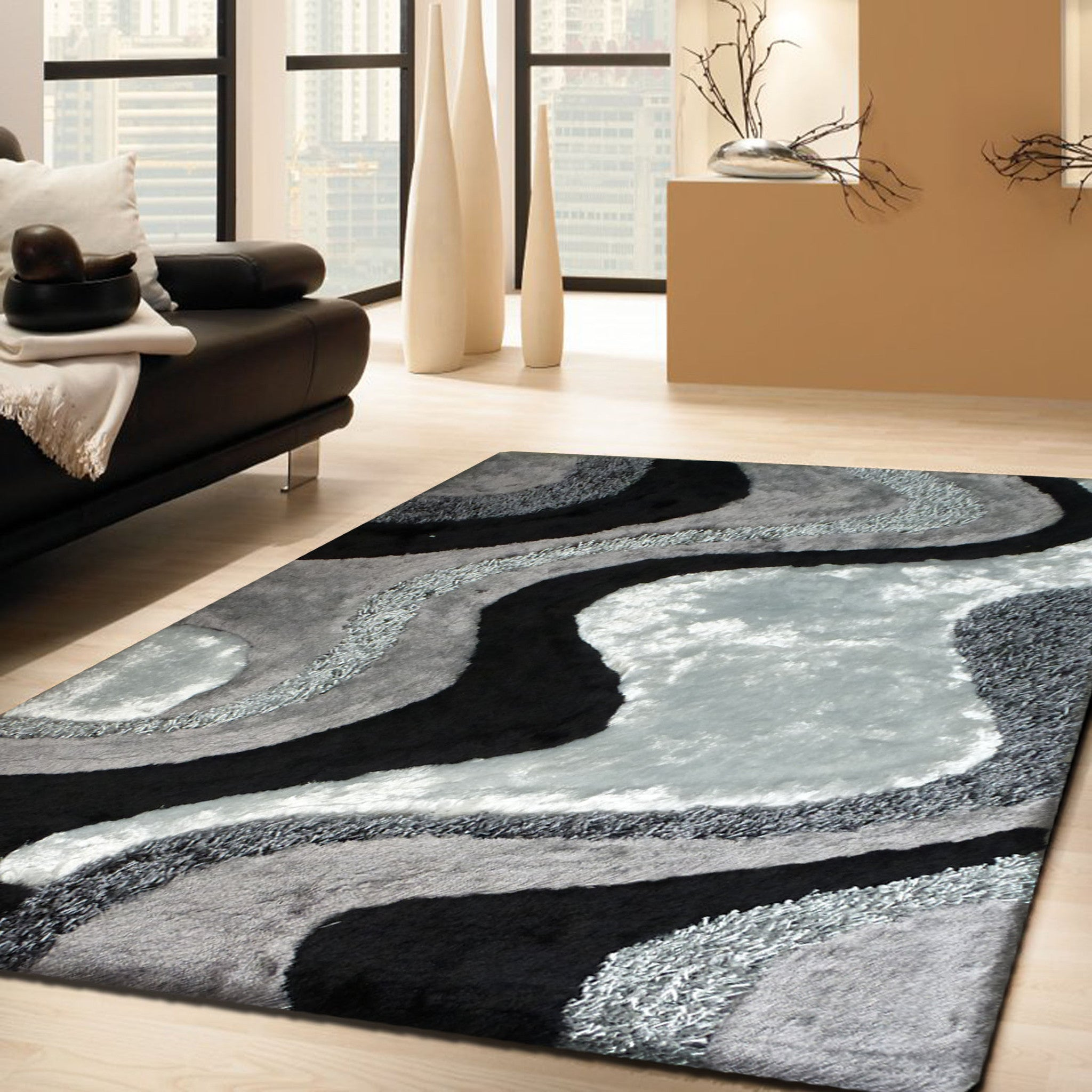 grey with black shag rug with hand carving design 76 x 103 black shag rug