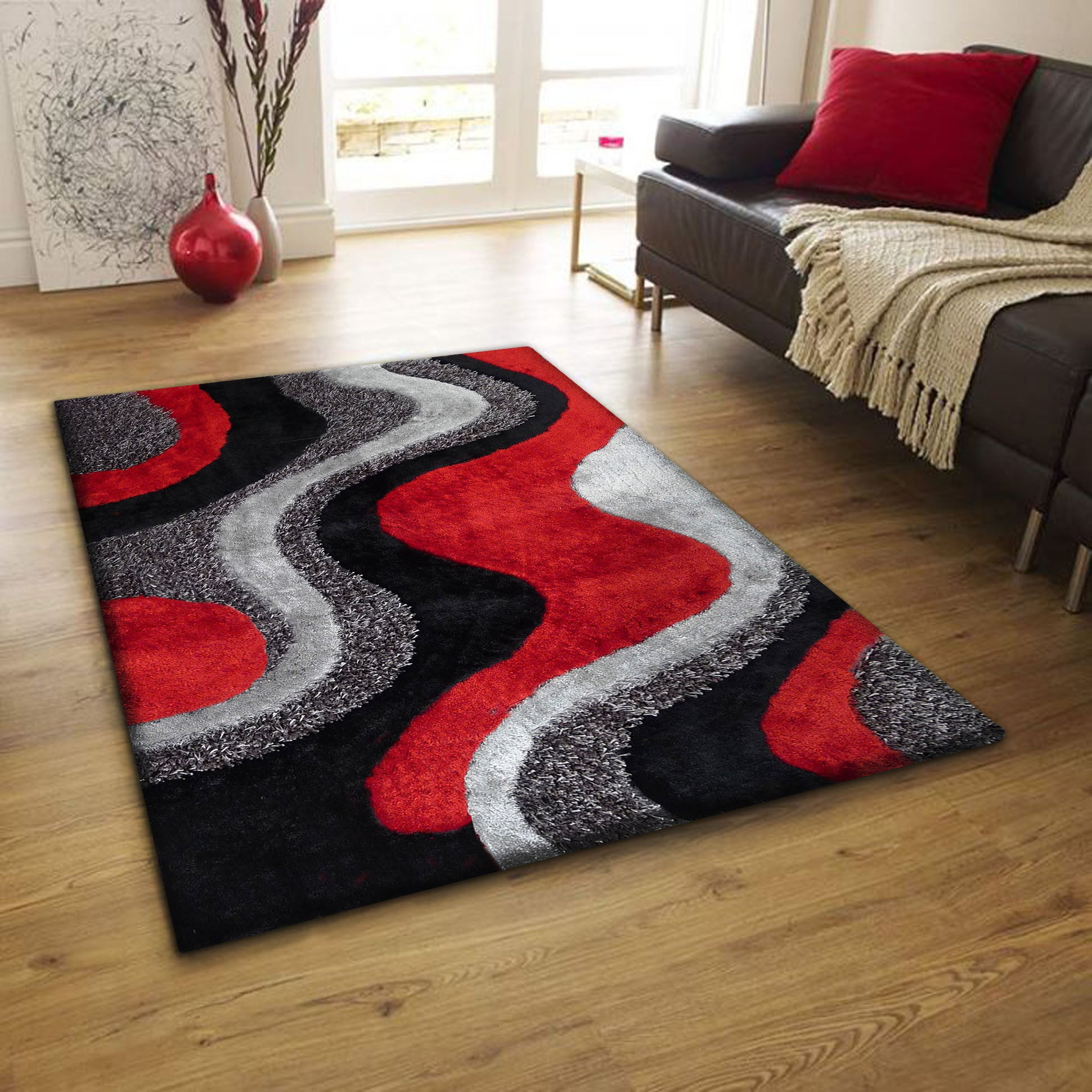 2-Piece Set | Black/Grey with Red Shag Area Rug & Rug Pad