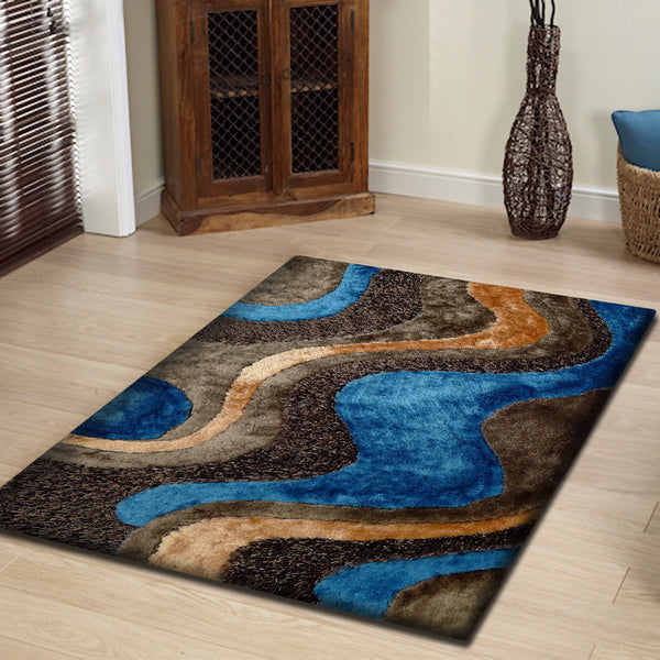 Brown With Blue Shag Rug With Rug Pad - Rug