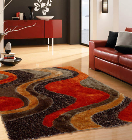 2-Piece Set | Shag Brown with Orange Area Rug with Rug Pad