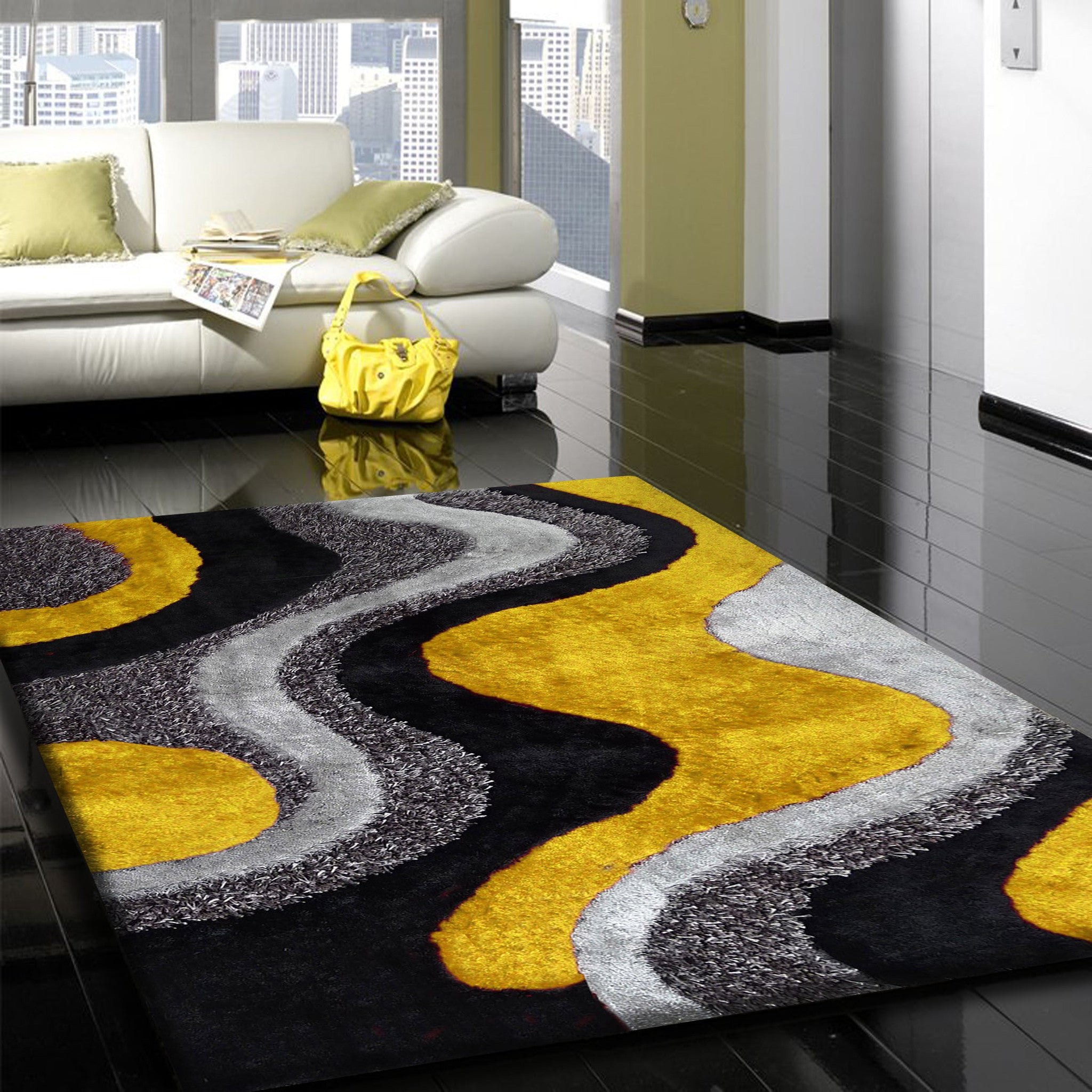 Design Yellow Rug 2tone grey to dark effect with yellow shag rug addiction 5 x 7 ft