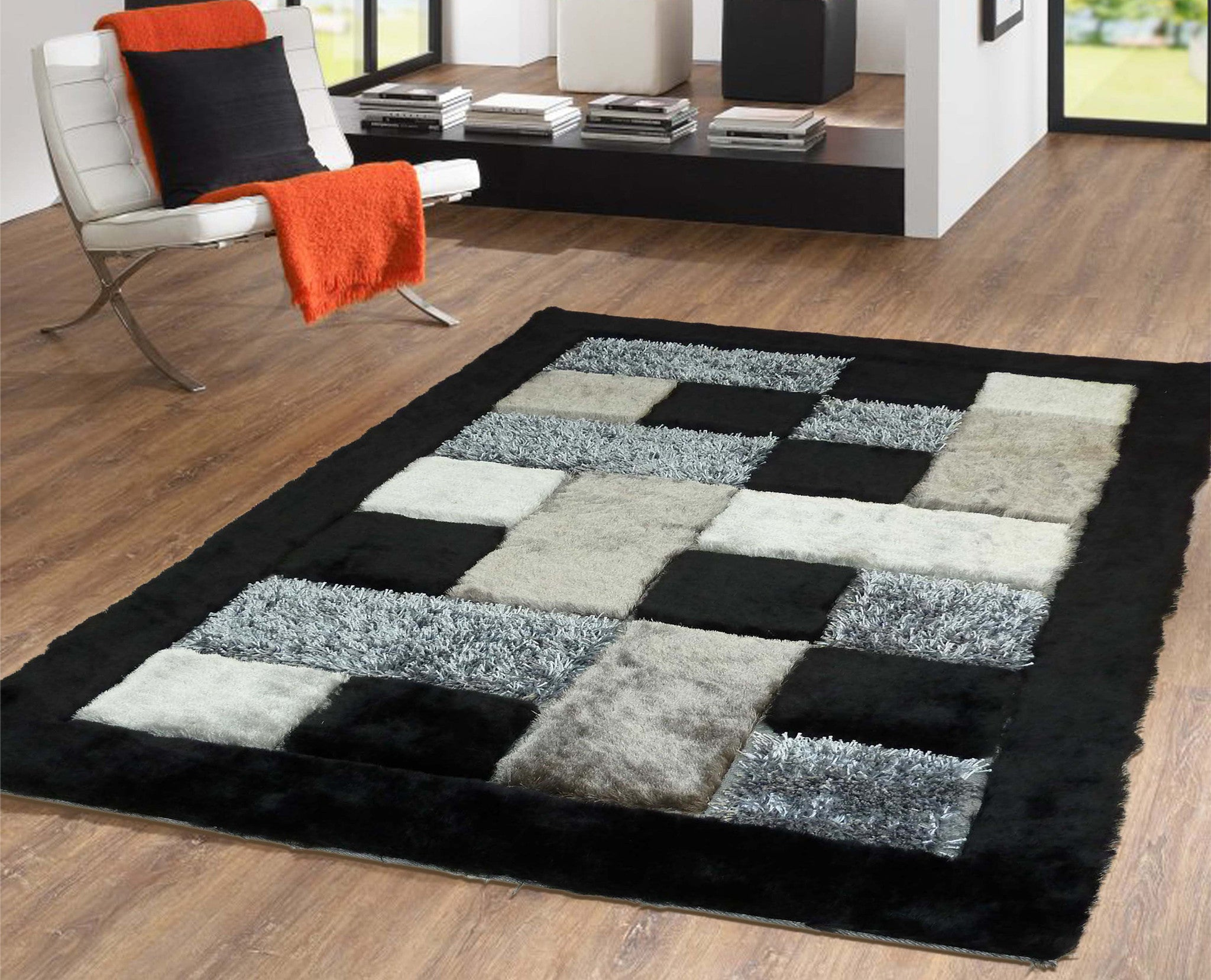Luxurious Shag Rug In Grey And Black With Unique Checker Geometric Design  4u0027 X 5 .