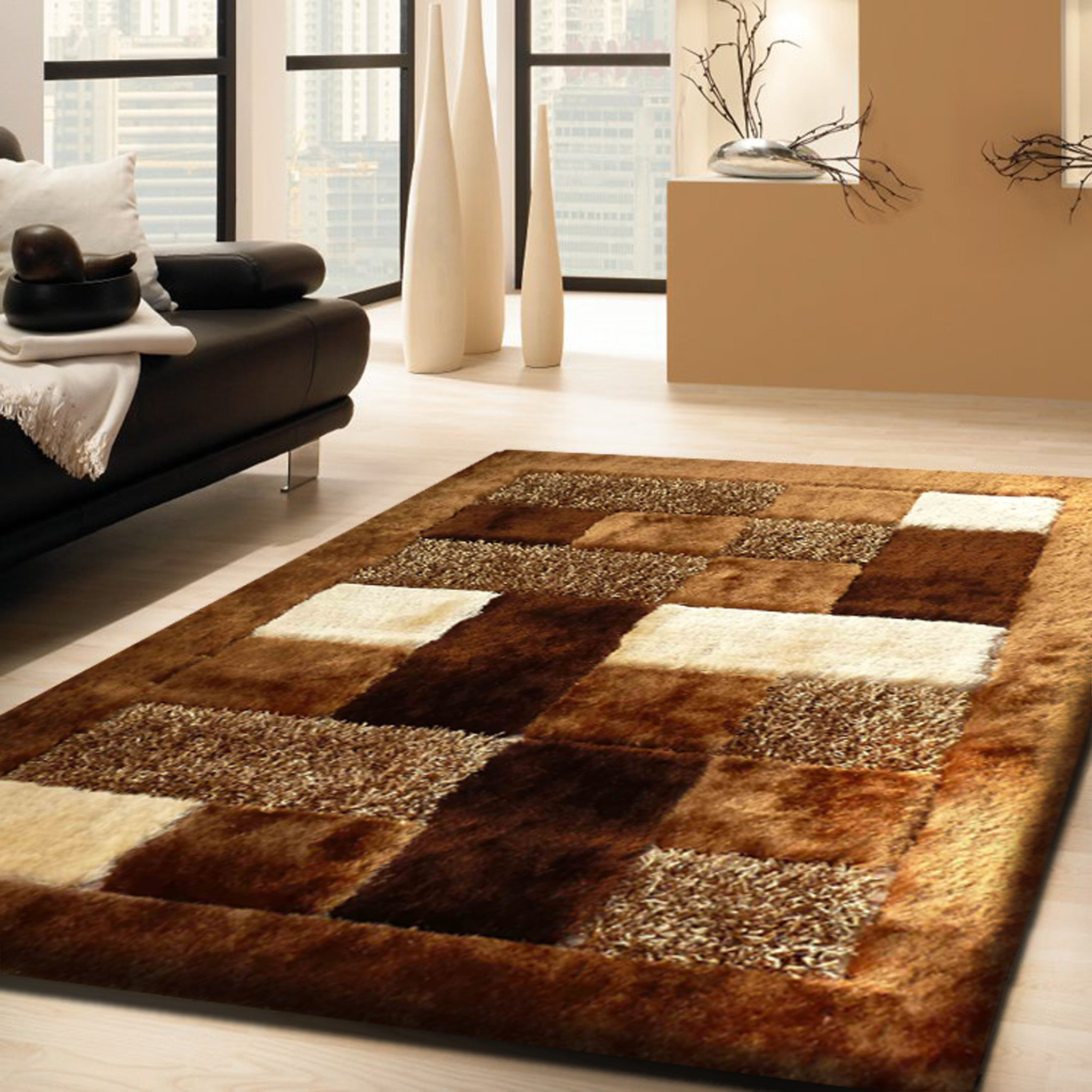 Brown shaggy hand tufted area rug by rug addiction for Living room mats