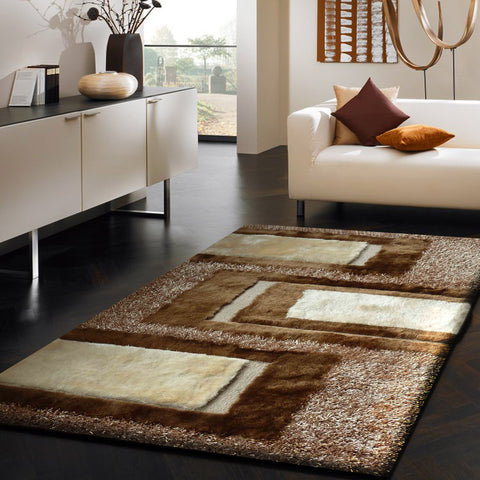 3-Piece Set | SHAG BEIGE AND BROWN HANDMADE RUG