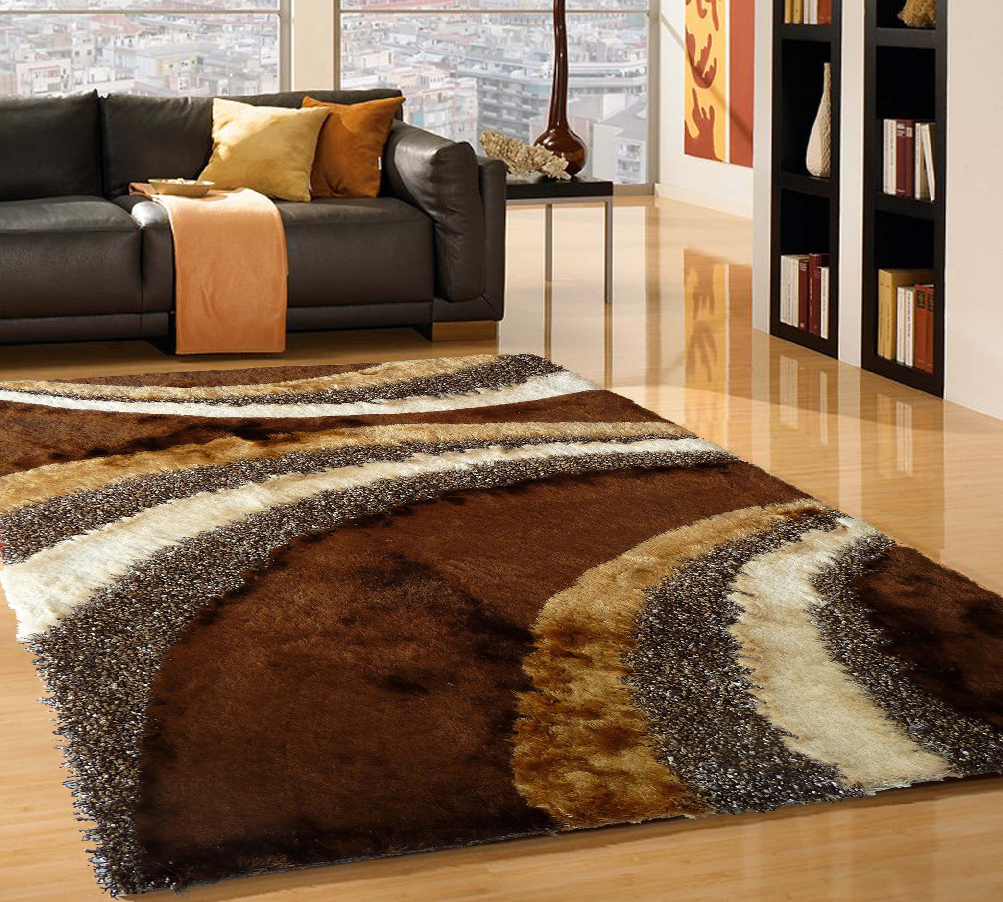 Brown Hand Made Design Shag Rug With Pad Rug Addiction