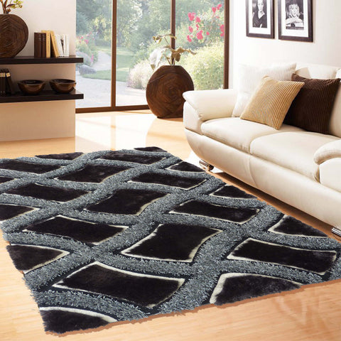 2-Piece Set | All Black with Silver Shag Rug with rug pad