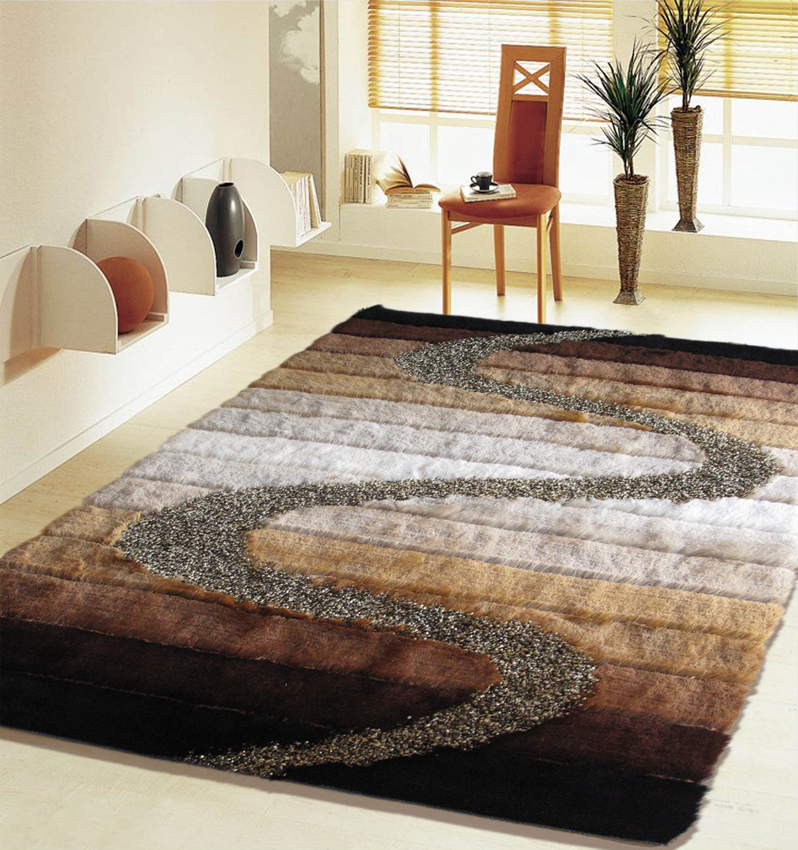 3 Piece Set | SHAG BROWN BEIGE BLACK GOLD HANDMADE RUG , 3 Piece ...