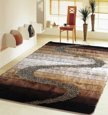 3-Piece Set | SHAG BROWN BEIGE BLACK GOLD  HANDMADE RUG