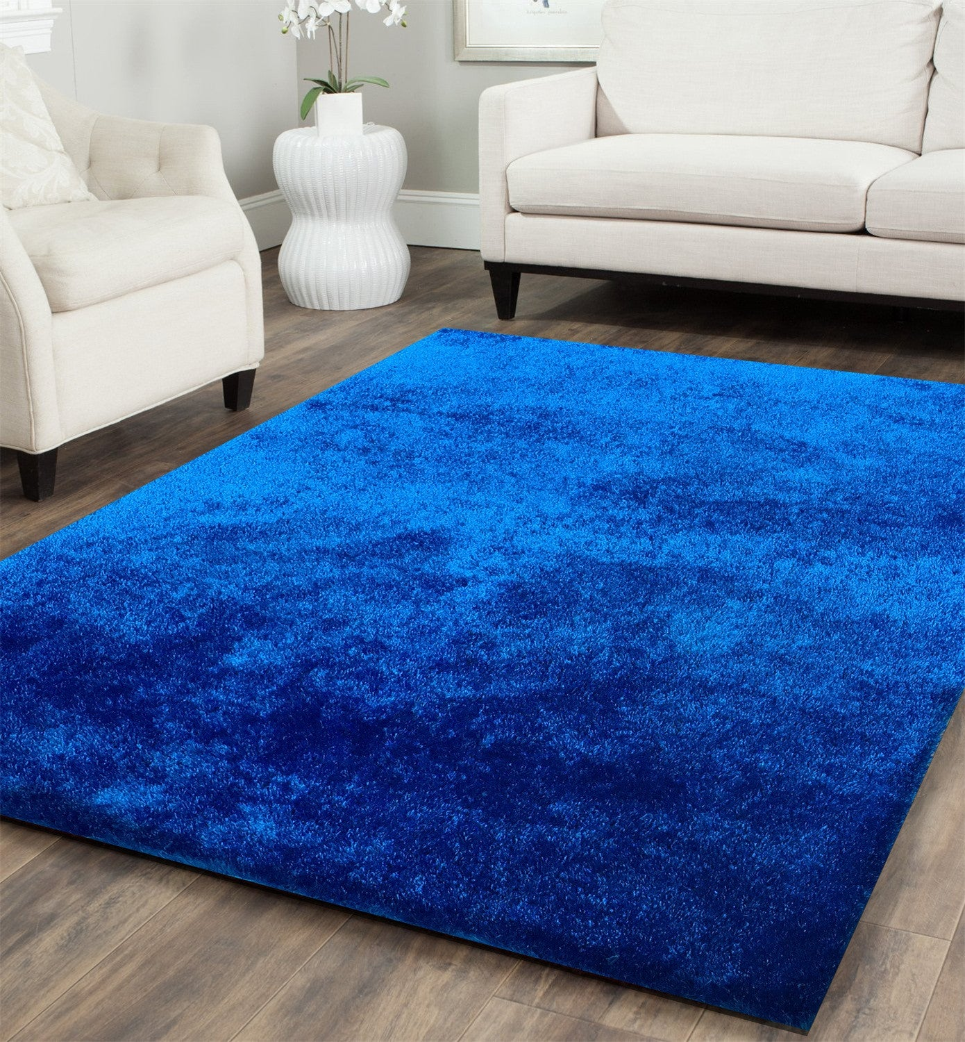 Hand Tufted Electric Blue Solid Shag Area Rug , Area Rug