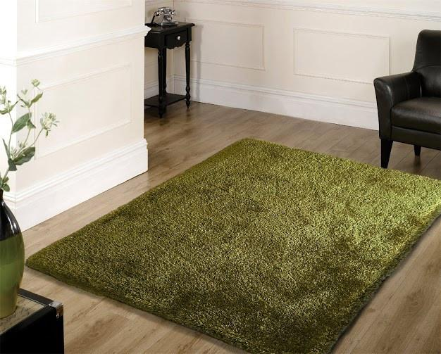 A Hand Tufted Shag Viscose Solid Area Rug Hunter Green