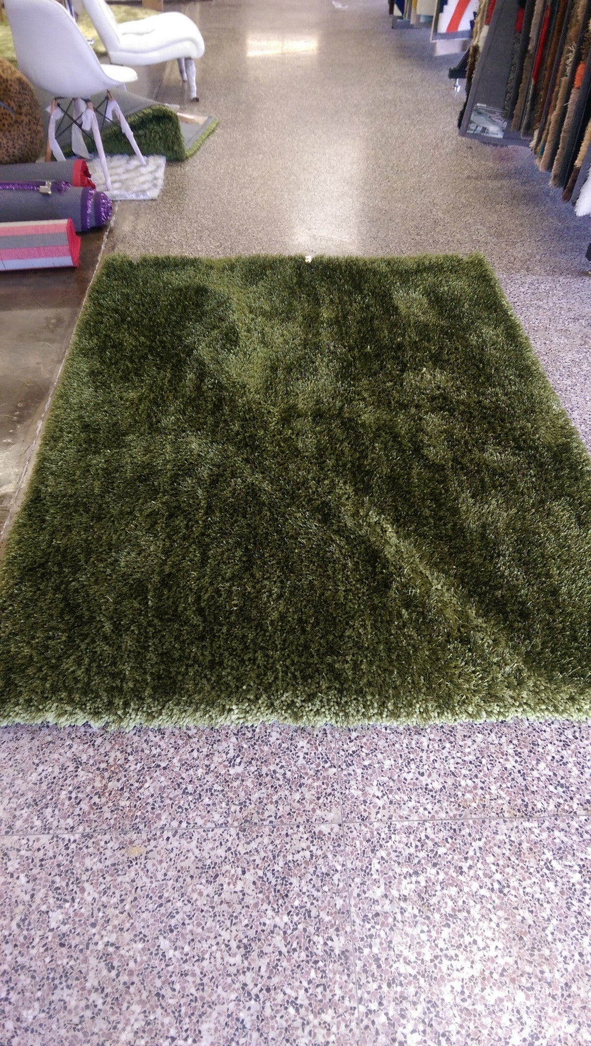 Solid Hunter Green Shag Rug Rug Addiction