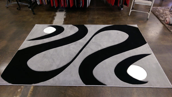 Grey With Black Hand Carved Contemporary Area Rugs Rug