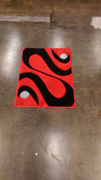 Red With Black Hand Carved Contemporary Area Rugs Rug