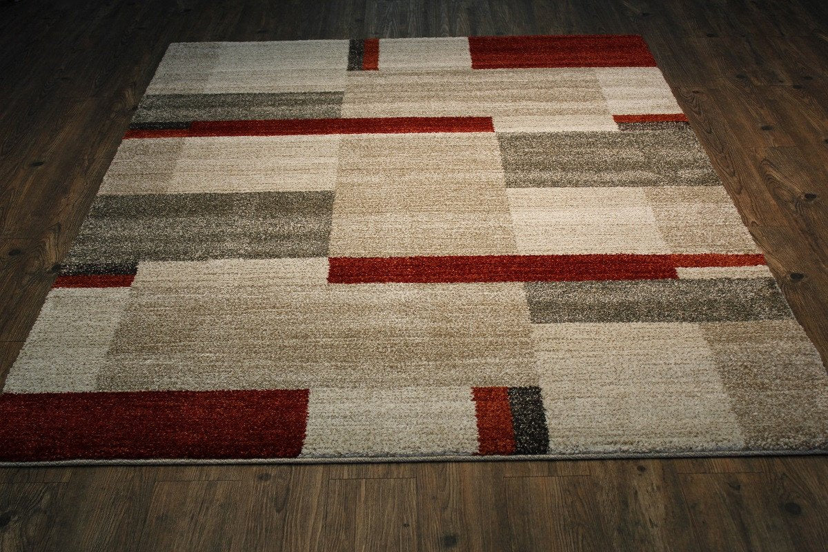 Alonzo Al210 Brown Beige And Red Modern Area Shag Rug Made In