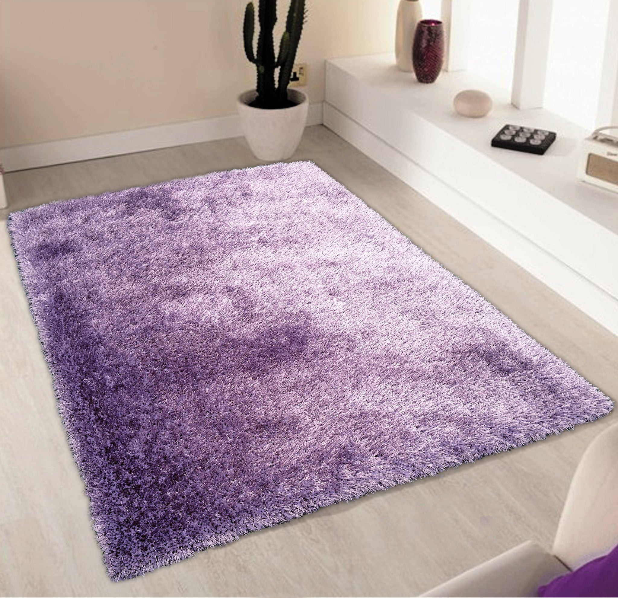 Solid Lavender Shag Area Rug Rug Addiction