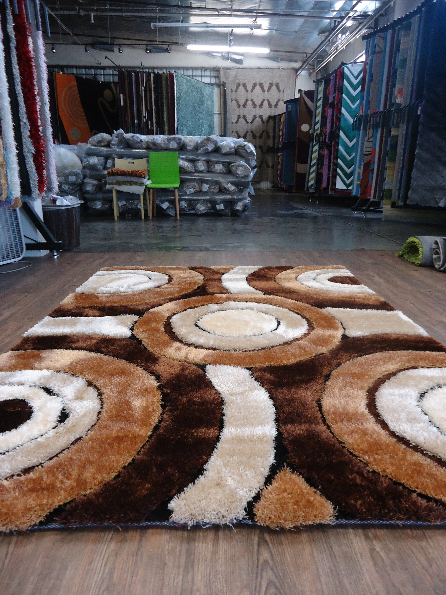 Handmade Vibrant Brown Shag Area Rug With Hand Carved