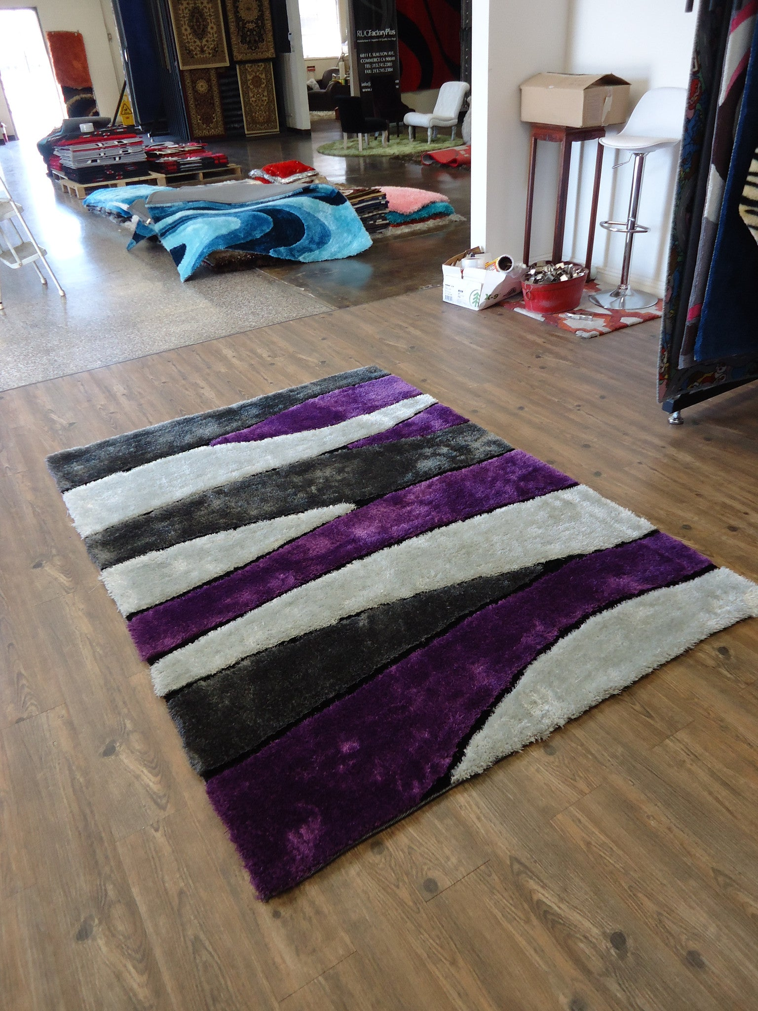 handmade vibrant gray with purple shag area rug with hand carved design 4u0027 u2026