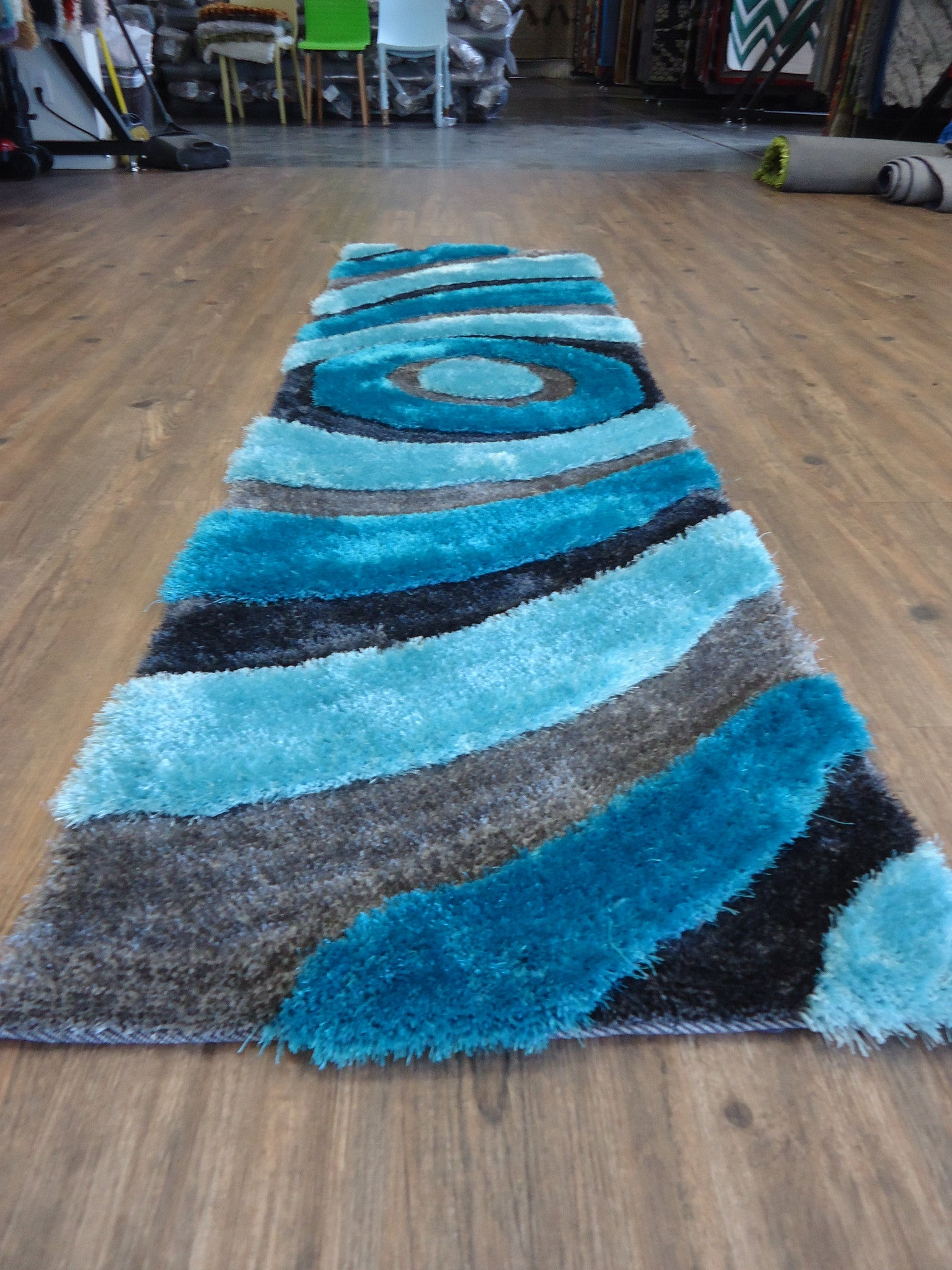 ... Handmade Gray With Blue Dimensional Shag Area Rug With Hand Carved  Design 2u0027 X 7 ...