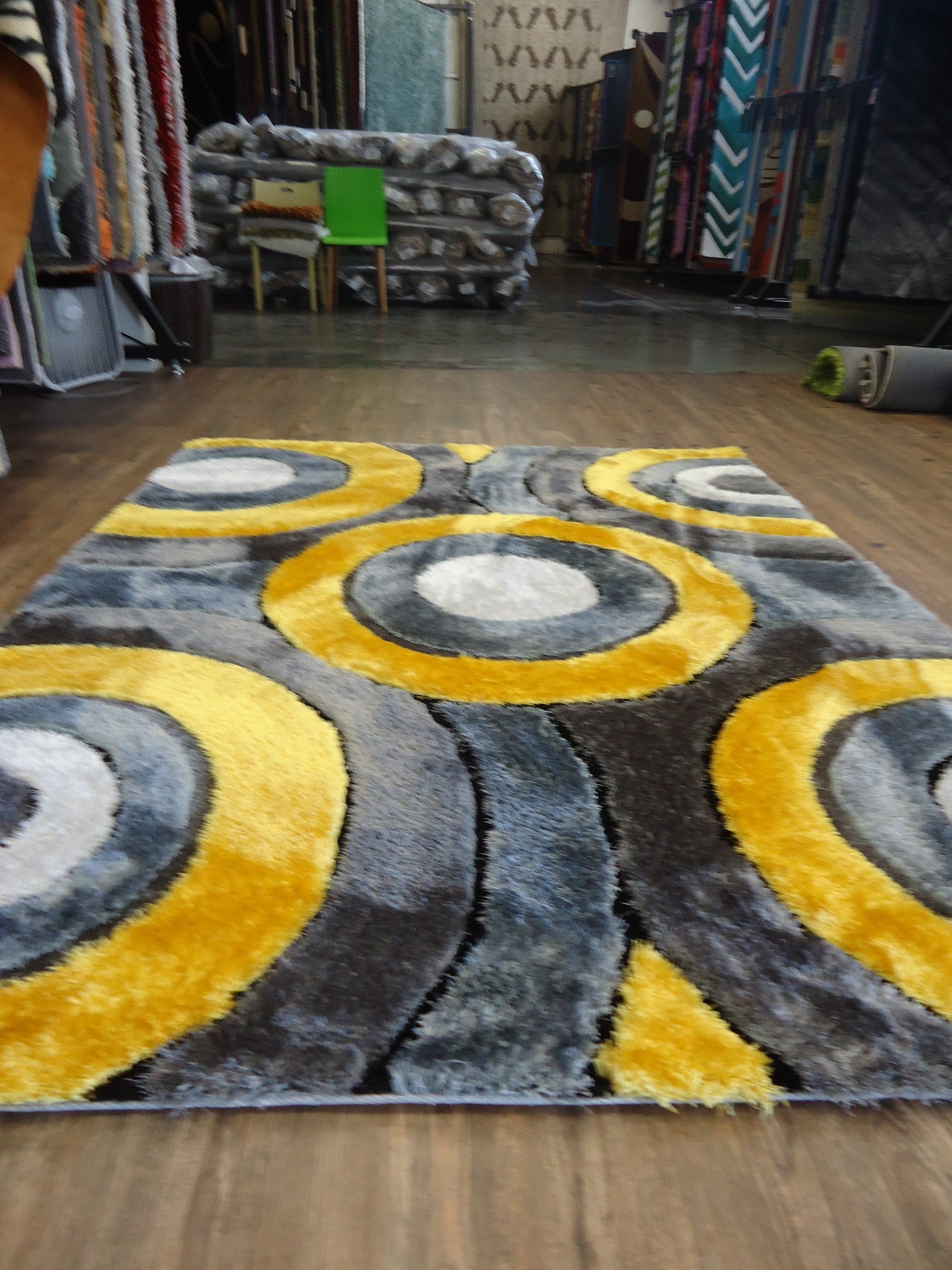 Shaggy Vibrant Gray Amp Yellow Hand Tufted Area Rug Rug