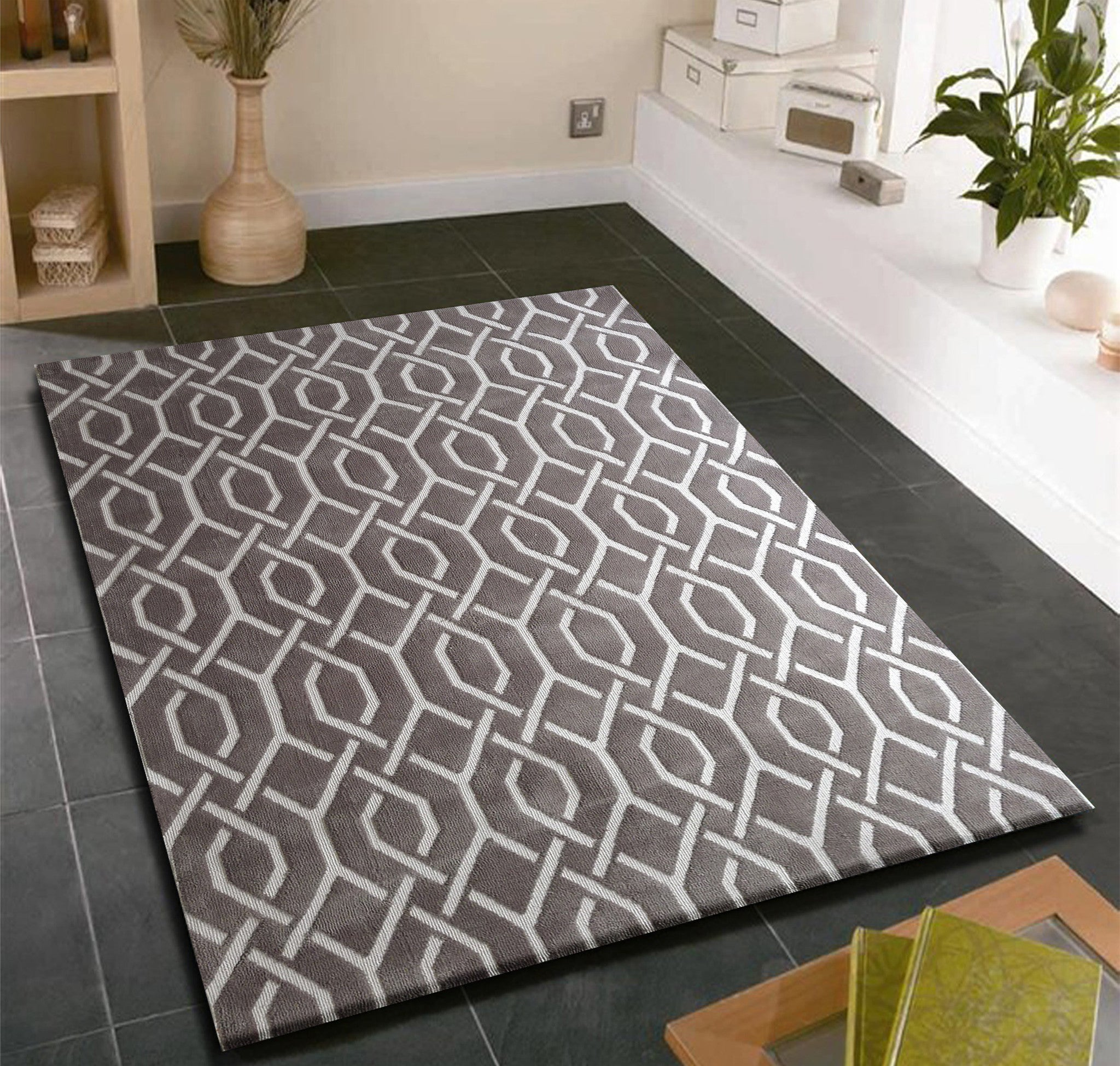 Modern contemporary slate grey bedroom area rug rug for Bedroom rugs