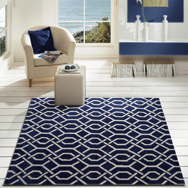 Modern Contemporary Navy Blue Bedroom Area Rug Rug Addiction