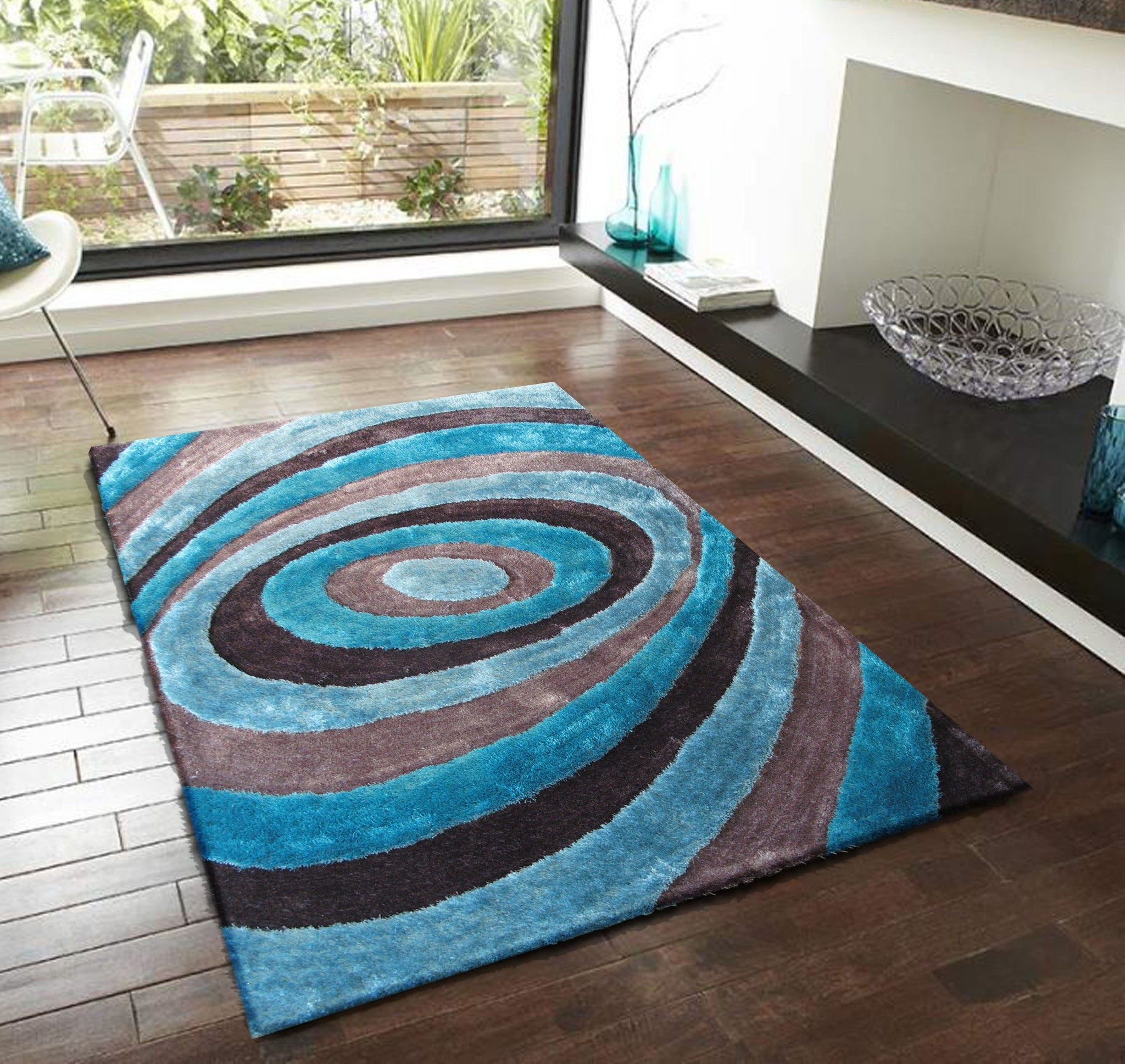 Handmade Gray With Blue Dimensional Shag Area Rug With