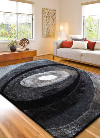 2-Piece Set | Black & Gray Dimensional Shag Area Rug with Hand Carved Design & R