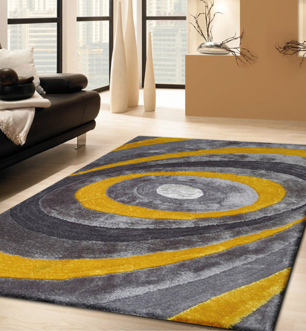2-Piece Set | Handmade Gray & Yellow Dimensional Shag Rug with Hand Carved Desig