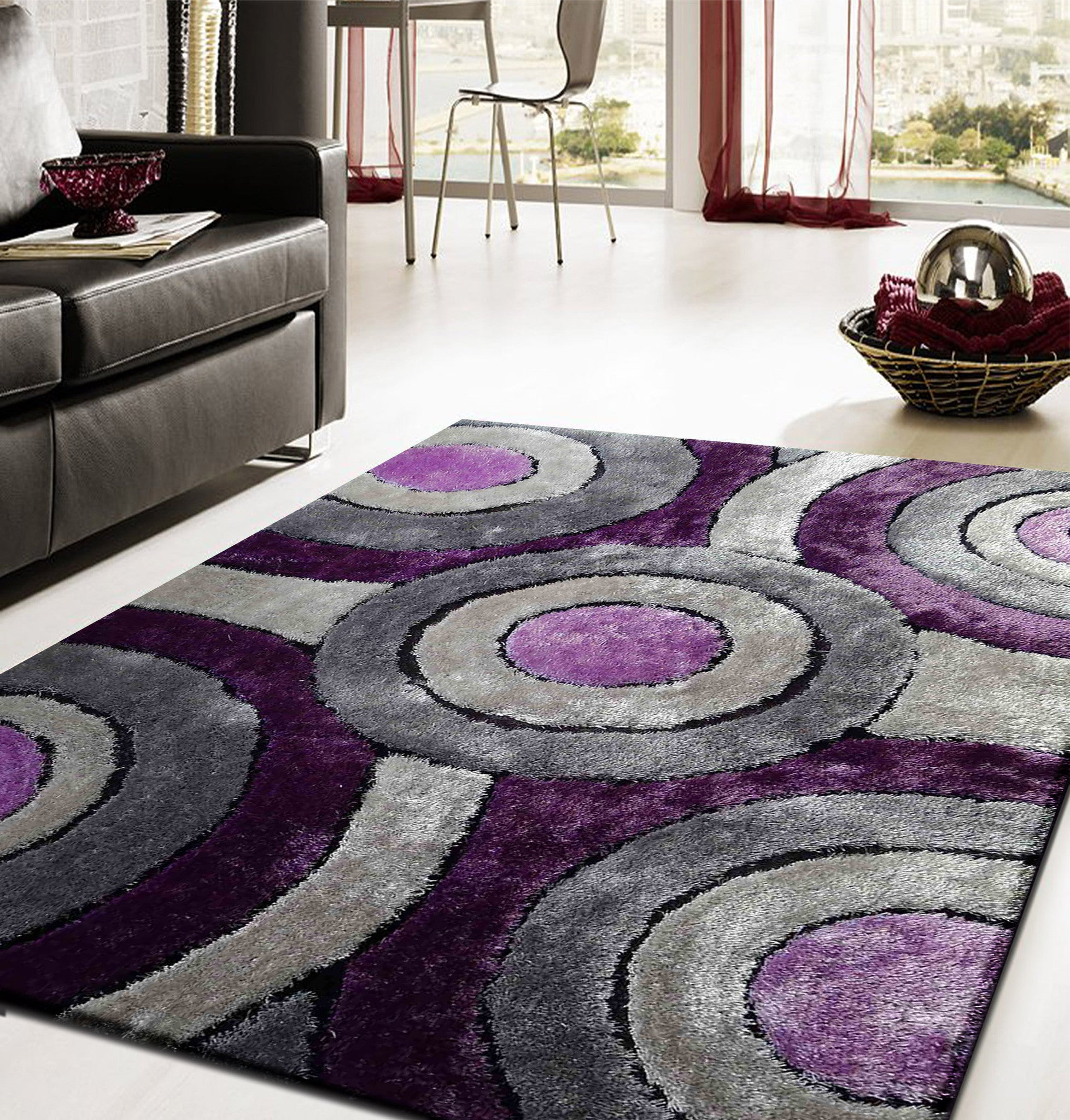 Shaggy vibrant gray purple hand tufted area rug rug for Best stores for rugs