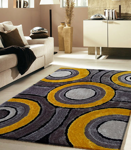 Shaggy Vibrant Gray & Yellow Hand-tufted Area Rug