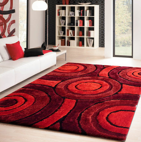 2-Piece Set | Shaggy Vibrant Red Hand-tufted Area Rug with Rug Pad