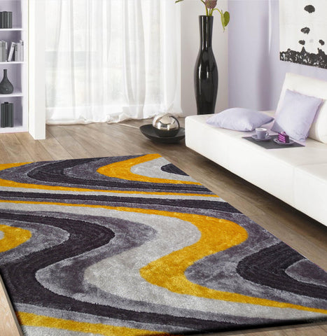 2-Piece Set | Elegant Shag rug with Geometric Design Grey/Yellow Rug Pad Included