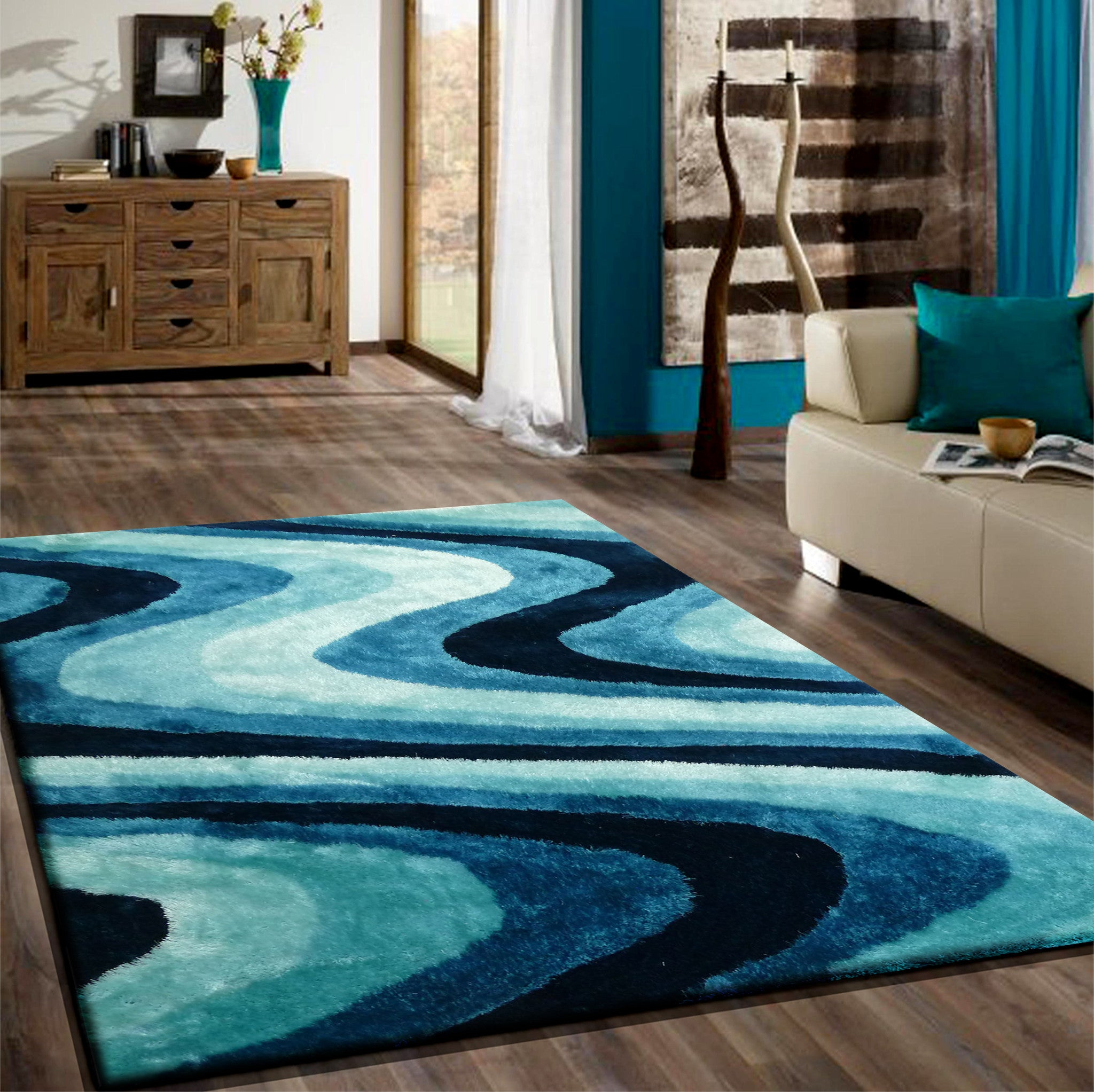 2 piece set shaggy indoor area rug in turquoise rug addiction. Black Bedroom Furniture Sets. Home Design Ideas