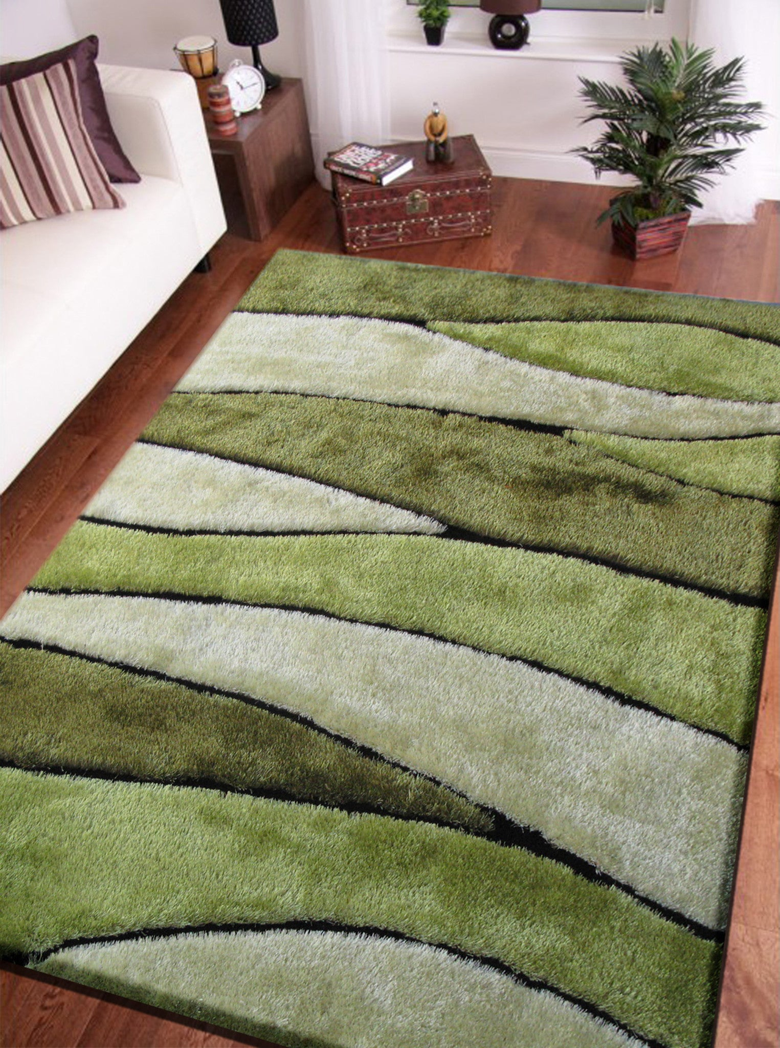 2 Piece Set | Handmade Vibrant Green Shag Area Rug With Hand Carved Design  With ...