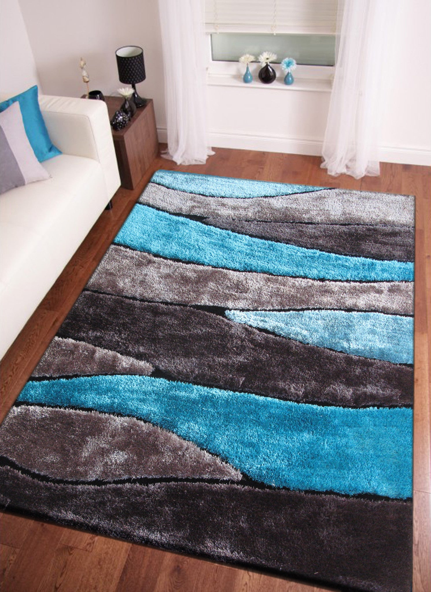 Awesome Handmade Vibrant Gray With Blue Shag Area Rug With Hand Carved Design , Area  Rug ...