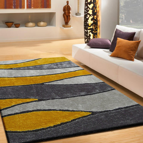 Handmade Vibrant Gray Yellow Shag Area Rug With Hand Carved Design