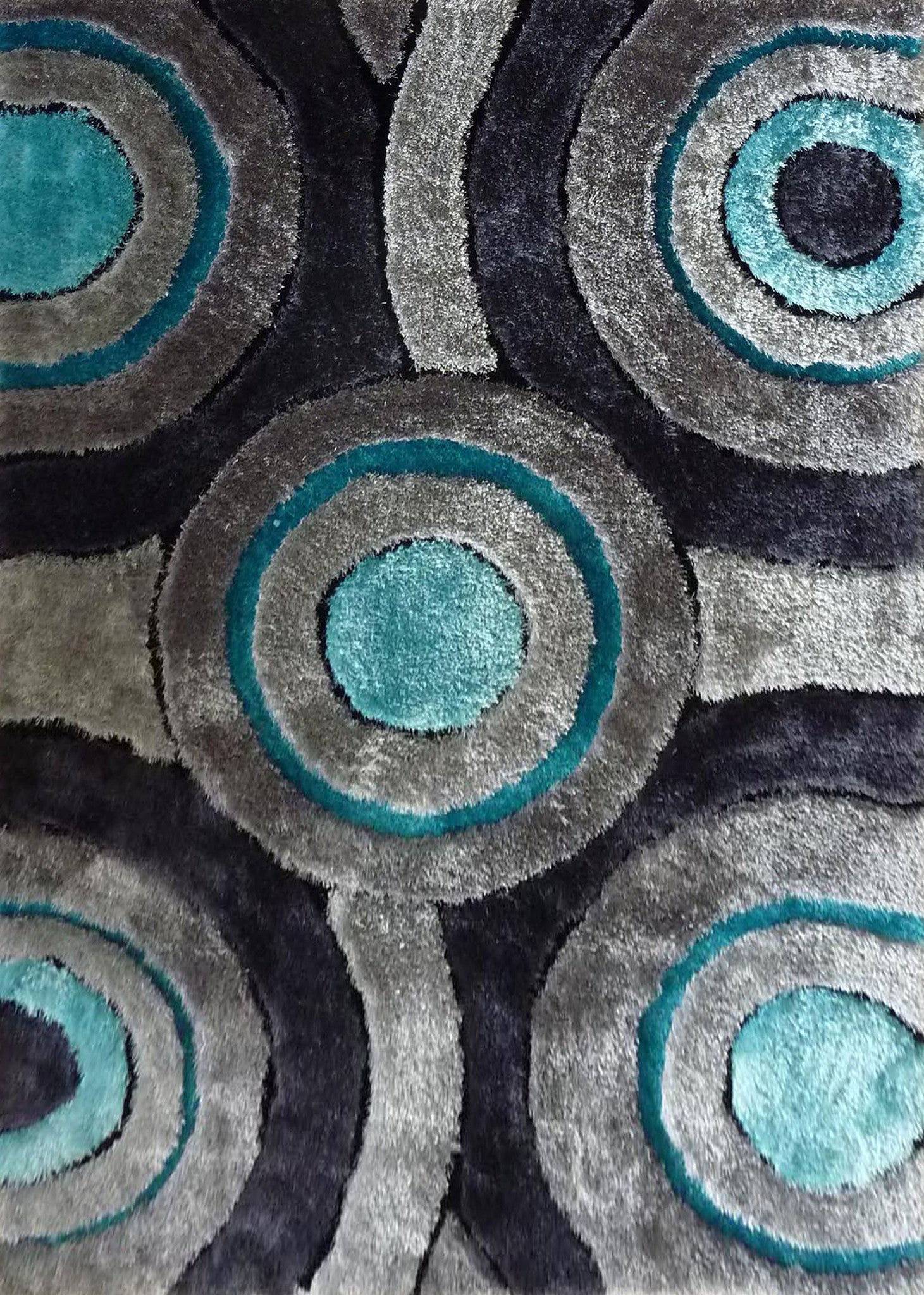 Shaggy Vibrant Gray Amp Blue Hand Tufted Area Rug Rug