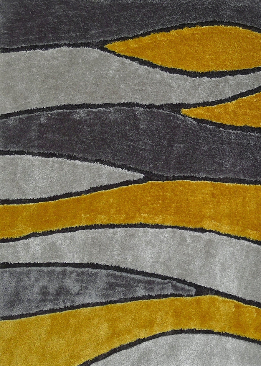 Handmade Vibrant Gray Yellow Shag Area Rug Rug Addiction