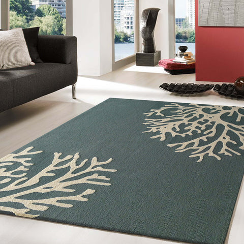 Forest Green Transitional Floral Outdoor Area Rug