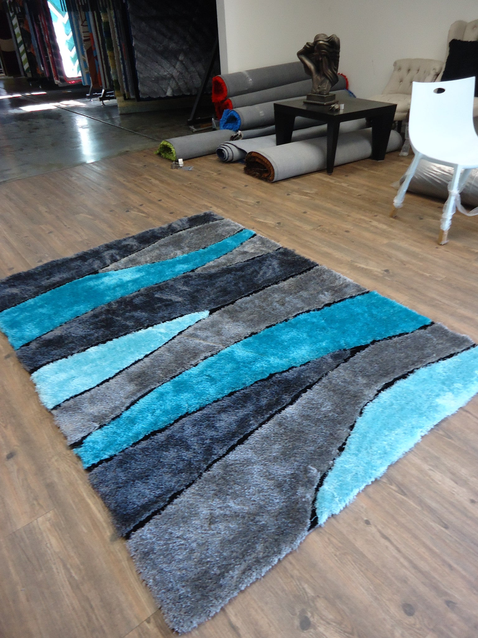 ... Handmade Vibrant Gray With Blue Shag Area Rug With Hand Carved Design 5  X 7 Ft ...