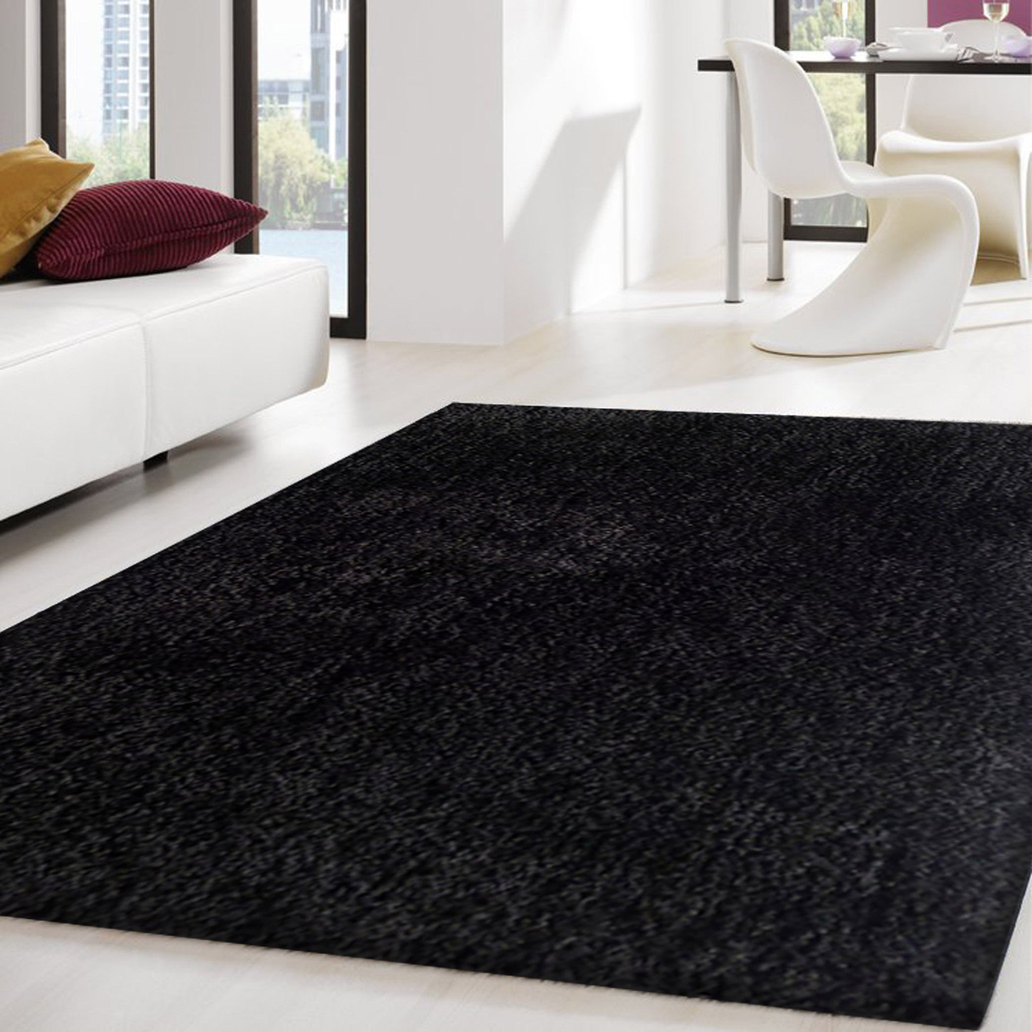 2 Piece Set Solid Black Thick Plush Shag Area Rug Rug